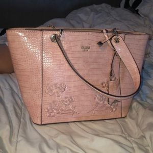 pink guess faux snake skin floral embroidered